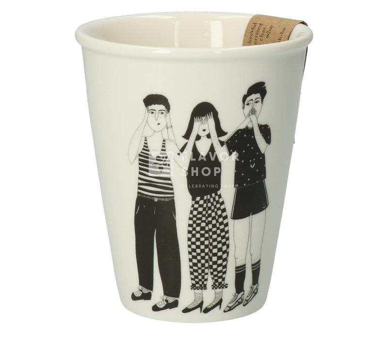 Tasse en porcelaine 'hear see and shut up'