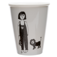 Beker in porselein 'girl with cub'