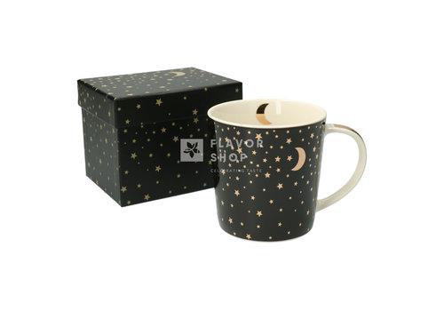 Tasse en porcelaine Moonlight noir-doré - en boîte cadeau