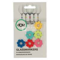 Set de 6 marqueurs de verre fleur en silicone