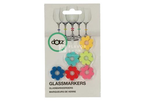 Dotz Set van 6 glasmarkers uit silicone bloem
