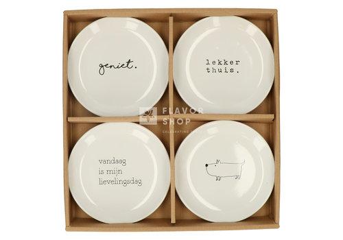 Gusta Set van 4  Bordjes 15 cm - Genieters