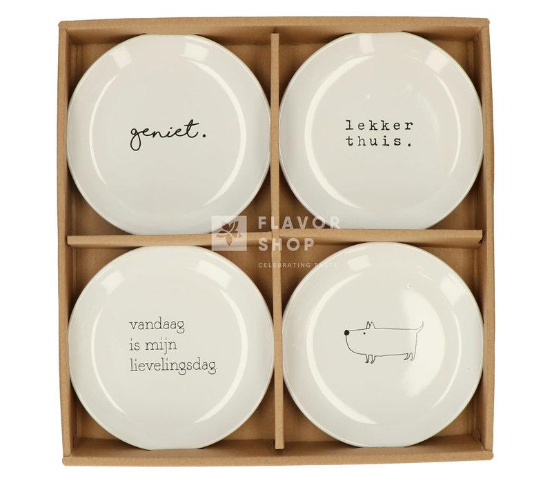 Set van 4 Bordjes 15 cm - Genieters