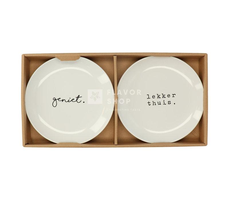 Set Bordjes 20 cm Geniet/ Lekker thuis - Genieters