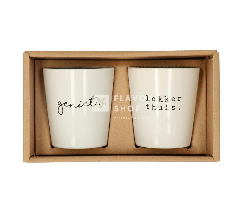 Set Tassen Geniet/ Lekker thuis - Genieters