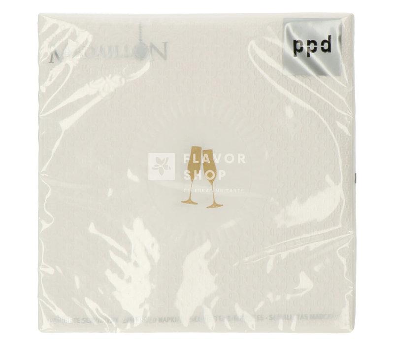 Servietten Medaillon Cheers pearl 33x33cm