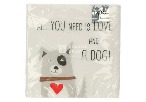 PPD Servietten Love and Dog 33x33 cm