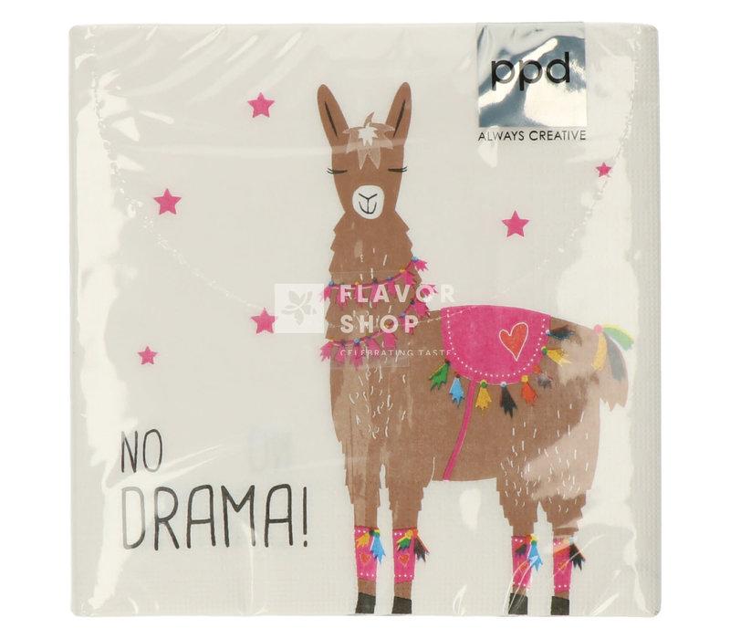 Servietten Drama Llama white 33x33 cm