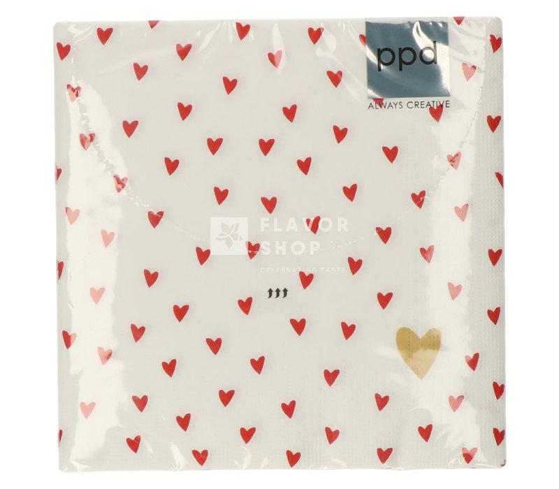 Servietten Little Hearts 33x33 cm