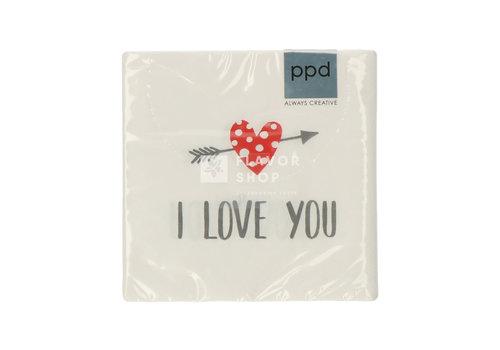 PPD Servietten I Love You 25x25 cm