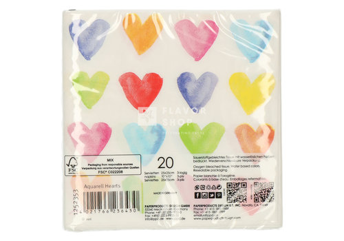 PPD Servietten Aquarell hearts