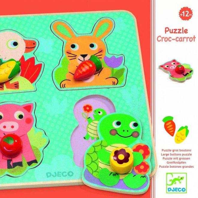 Djeco Houten puzzel met knopjes 'Croc-Carrot'
