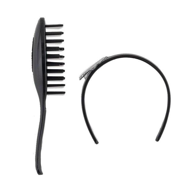 Ma Corolle Haarborstel & diadeem zwart (voor pop met haar)
