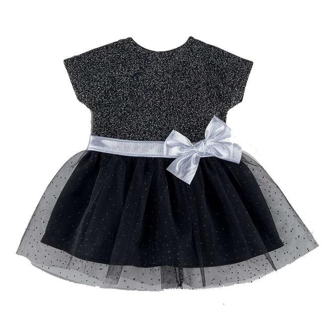 Ma Corolle Jurk met strik zwart/zilver (voor pop met haar)