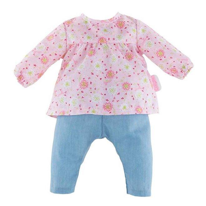 Poppenkleding blouse bloemen & jeans (voor Mon Grand 36cm)