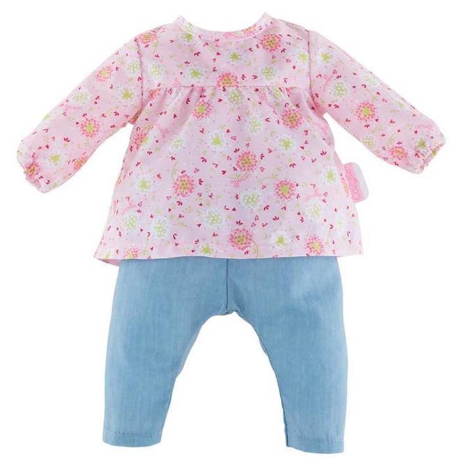 Poppenkleding blouse bloemen & jeans (voor Mon Grand 42cm)