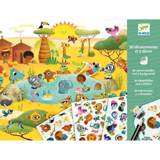 Krasplaatjes - Savannah, woestijn en Noordpool (4-8 jaar)