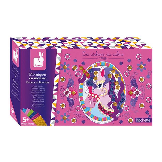 Janod Atelier - Pony's & eenhoorns foam mozaiek (4-8 jaar)