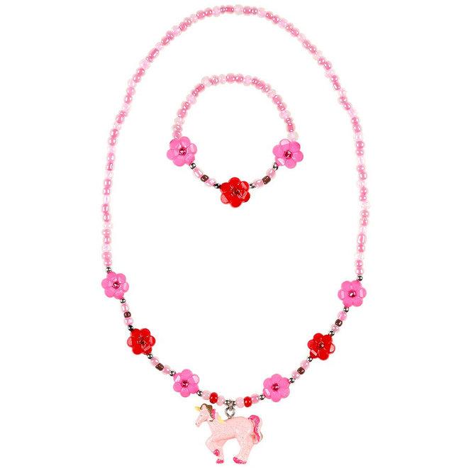 Ketting en armband Angel eenhoorn roze