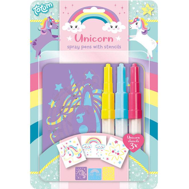 Blaasstiften met sjablonen unicorn