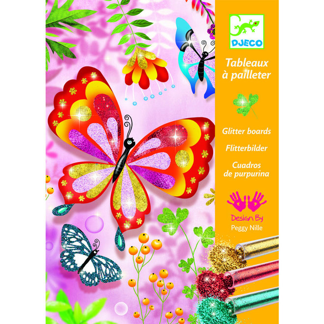 Glitterschilderijen vlinders 6+