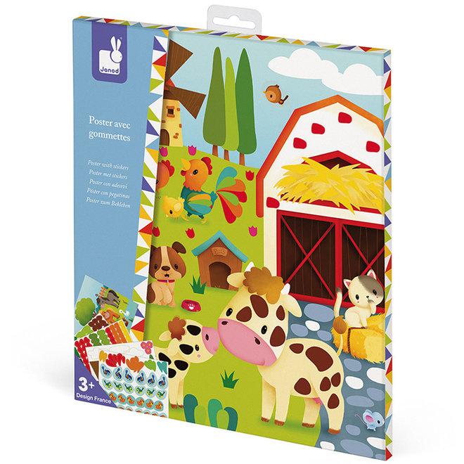 Janod Atelier - Stickers plakken boerderij poster 3+