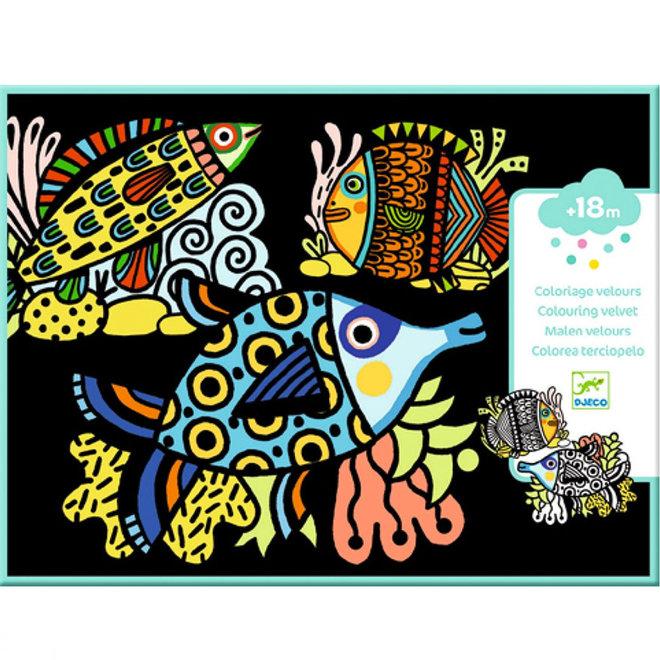 Djeco Fluwelen Kleurplaten Vissen