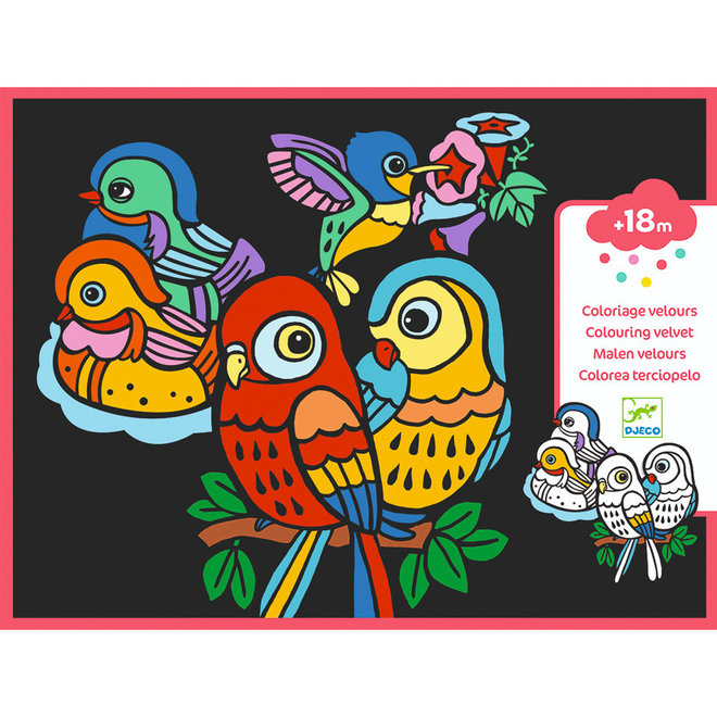 Fluwelen kleurplaten vogels 3-6jr