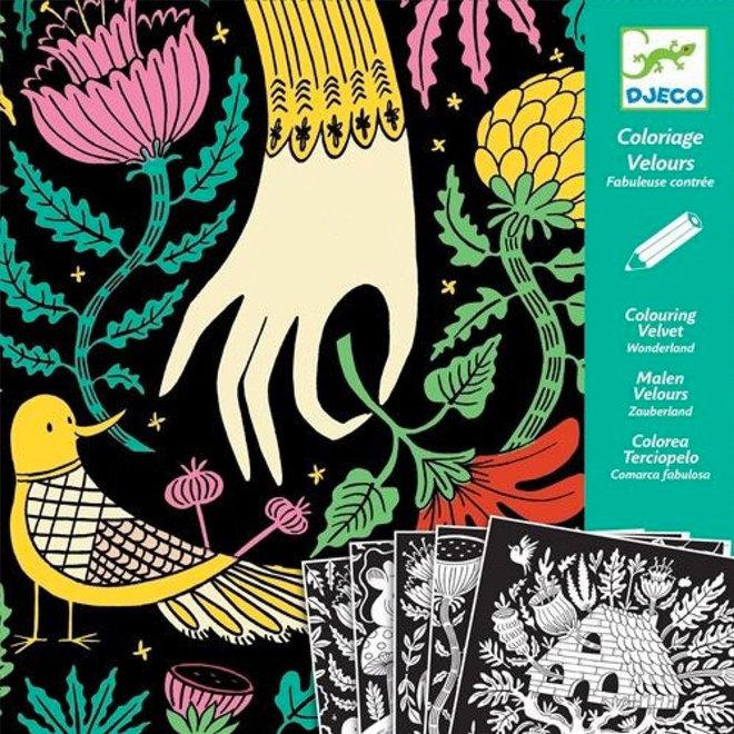 Djeco Fluwelen Kleurplaten 'Wonderland'