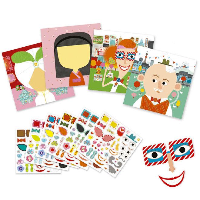 Creëer met stickers - Gezichten