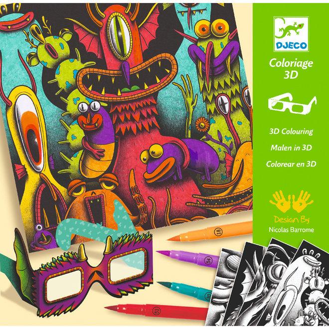 Kleuren met stiften 3D effect - Funny Freaks (7-13 jaar)