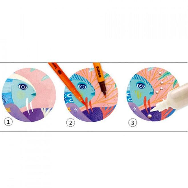 Kleuren met stiften op nummer - Onder zee 7+