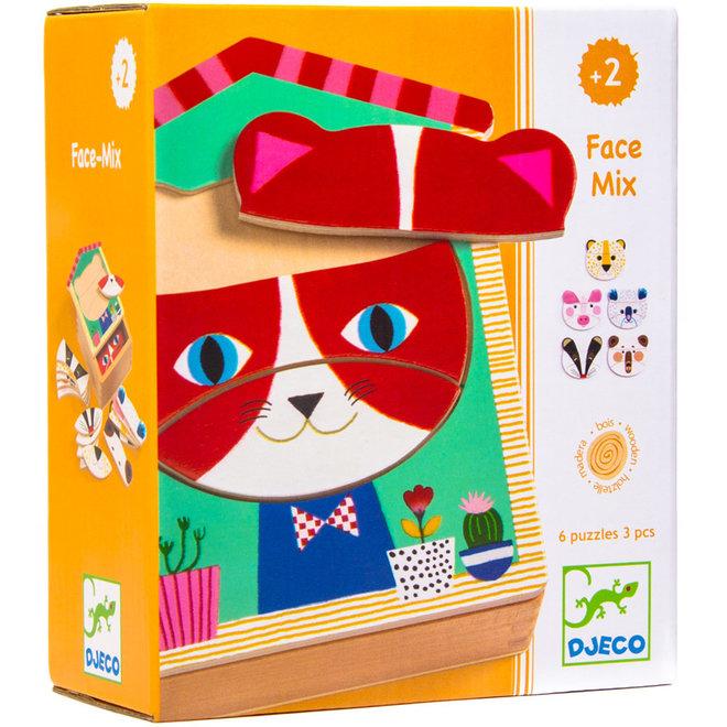 Djeco Face Mix houten gezichten puzzels 2+