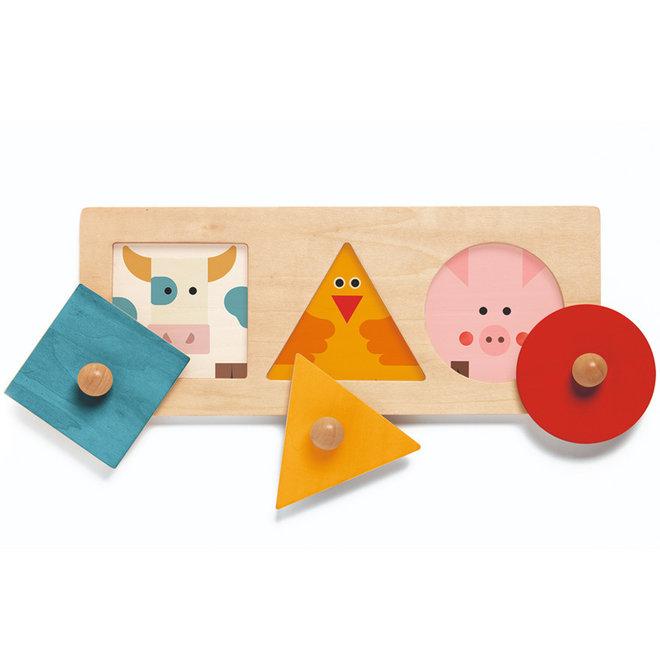 Djeco Houten Puzzel Basisvormen