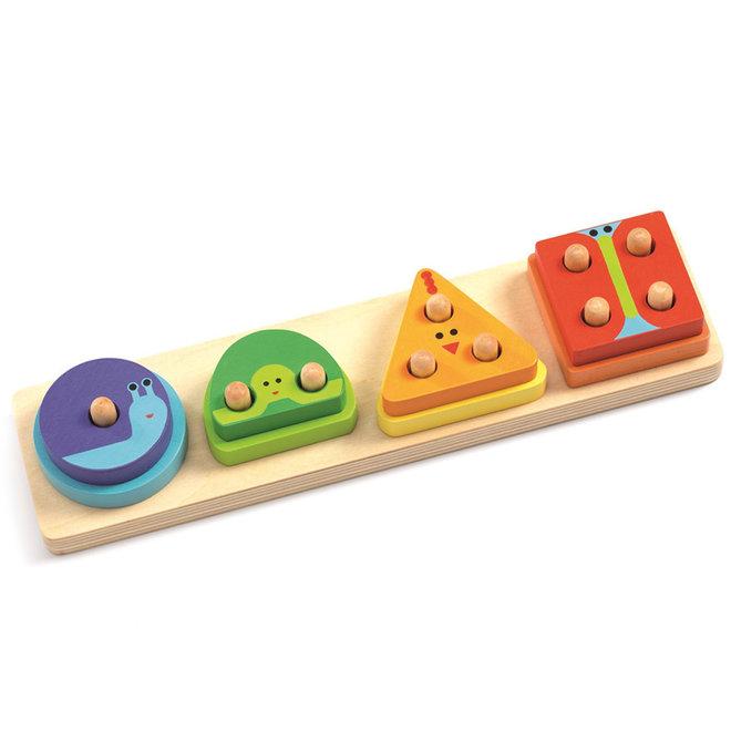 Houten puzzel vormen & tellen 18m+