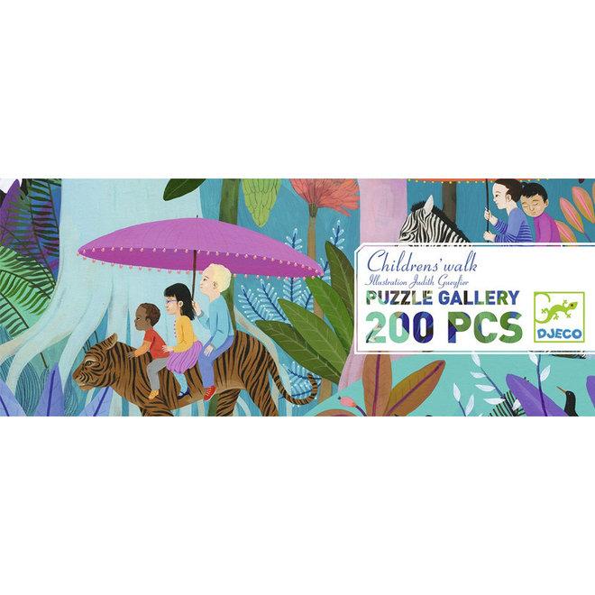 Djeco puzzel 200 stukjes - Wandeling van de kinderen