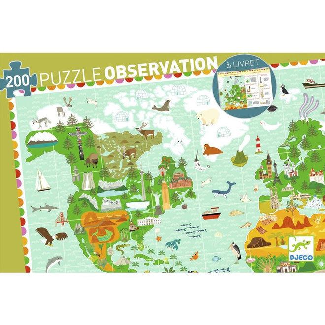 Djeco puzzel 200 stukjes - Reis rond de wereld