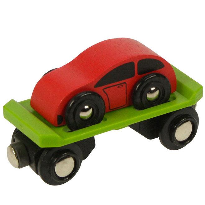 Treinwagon oplegger met auto