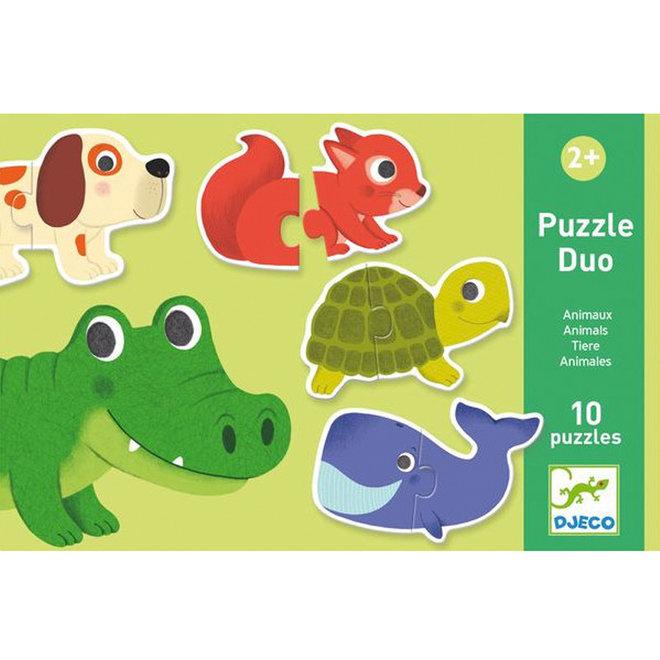 Puzzel duo dieren 2+