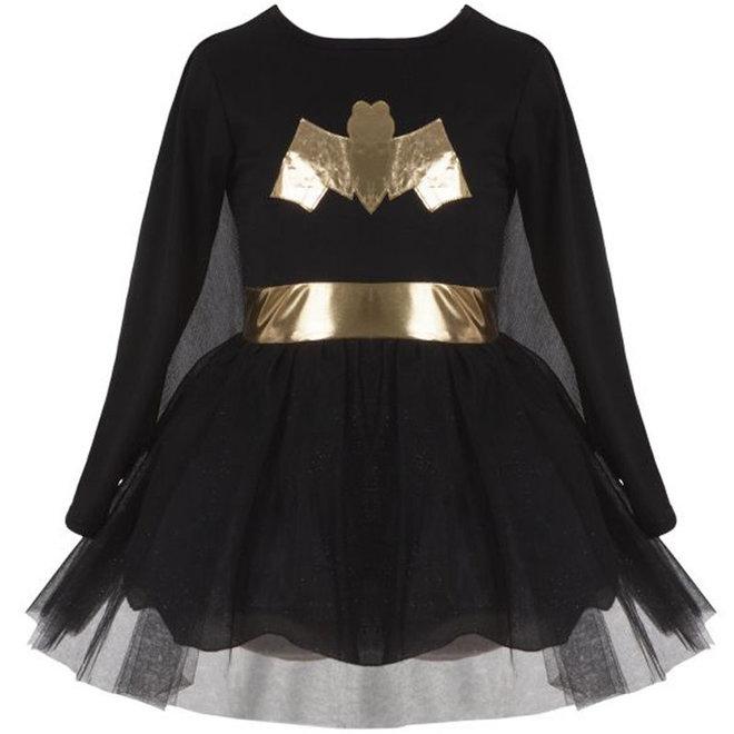 Jurk superheldin zwart/goud