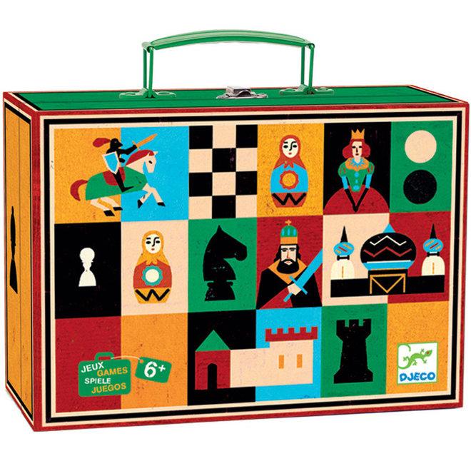 Schaak- en damspel in koffer