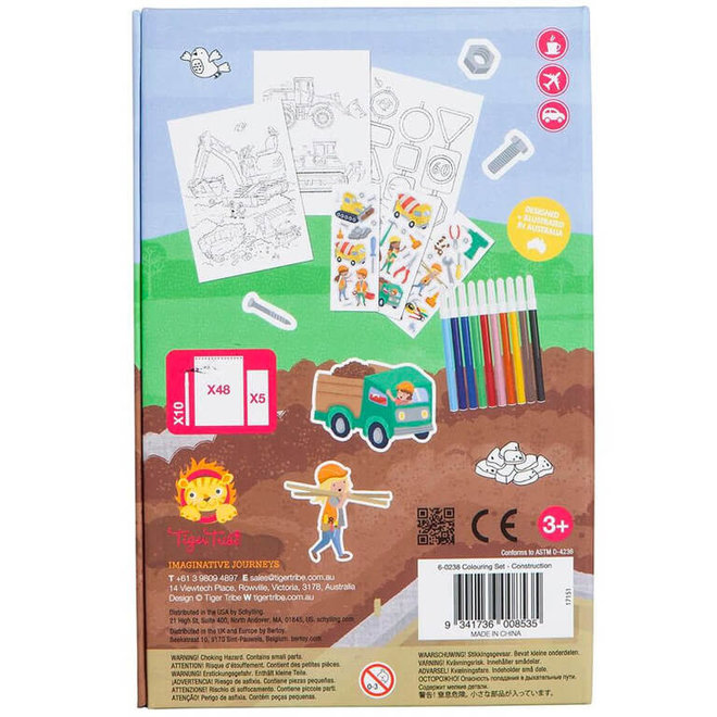 Kleurplaten met stiften & stickers - constructie