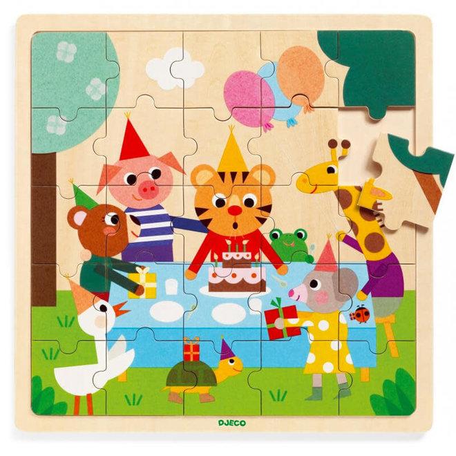 Houten puzzel verjaardagsfeestje (25st) 3+