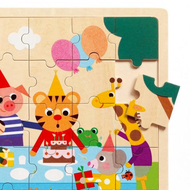 Houten puzzel - Verjaardagsfeestje (25st) 3+