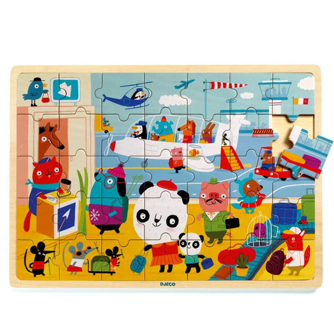 Houten puzzel vliegveld (35st) 4+