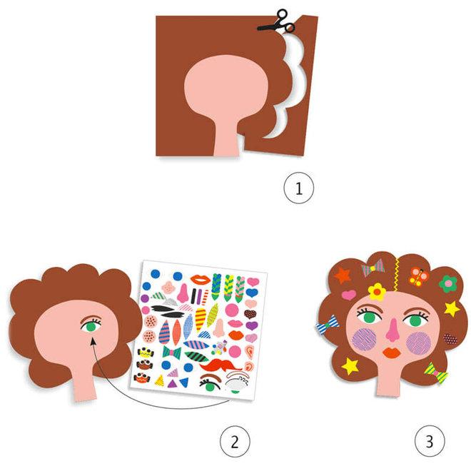 Djeco Creëer met stickers - Kapsalon met schaar