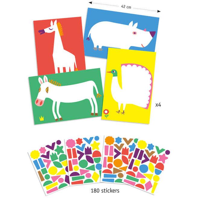 Djeco Creëer Met Stickers - Grote Dieren