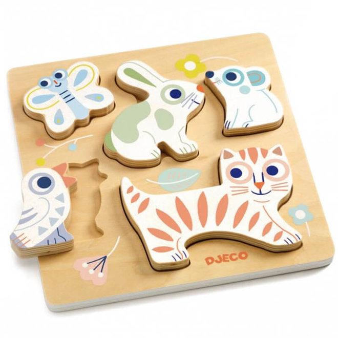 Houten puzzel babydieren 1+