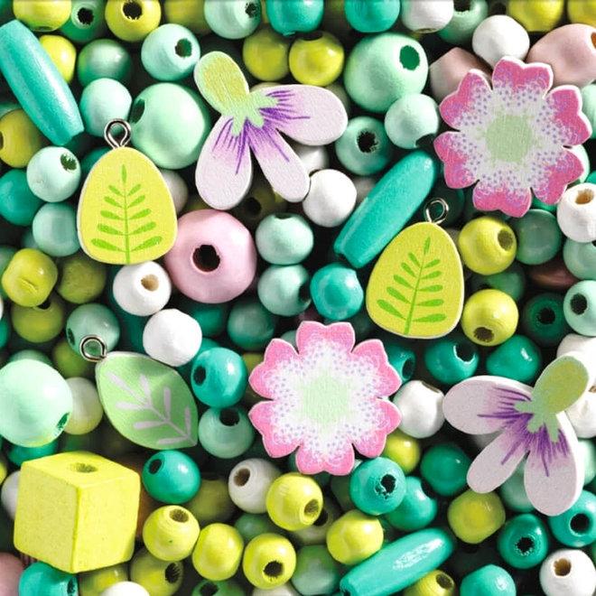 Djeco Houten kralen - Bloemen