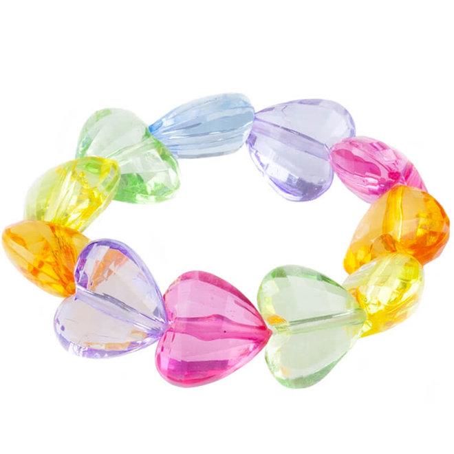 Armband regenboog hartjes